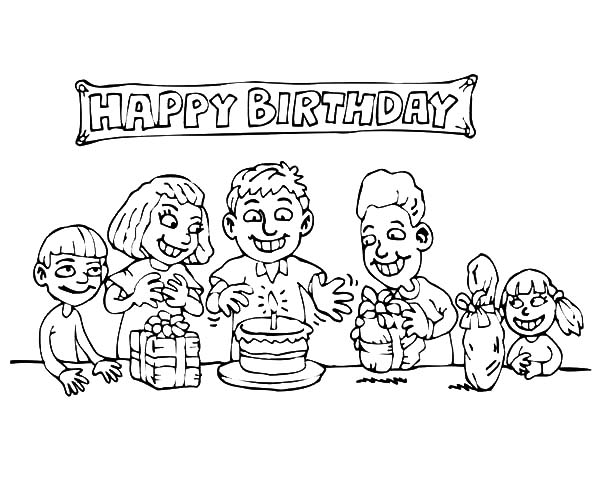 Everybody is Happy at Birthday Party Coloring Pages