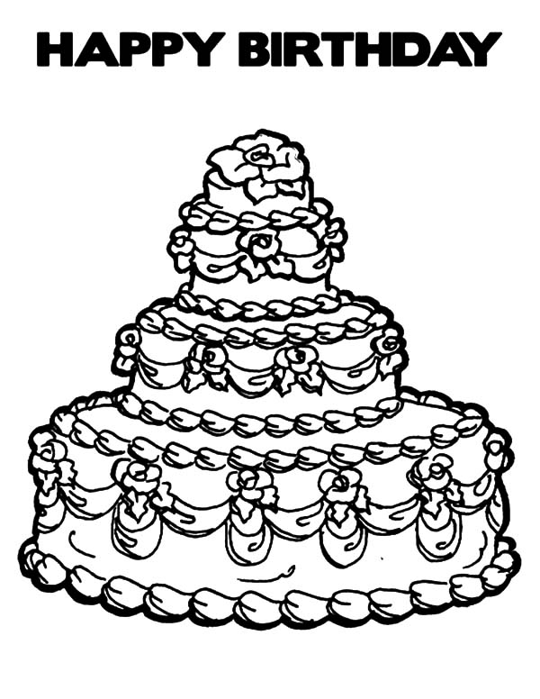 Expensive Birthday Cake Coloring Pages