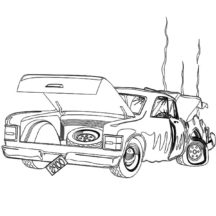 Expensive Crashed Cars Coloring Pages