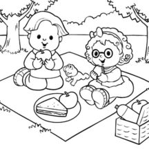 Family Picnic Coloring Pages