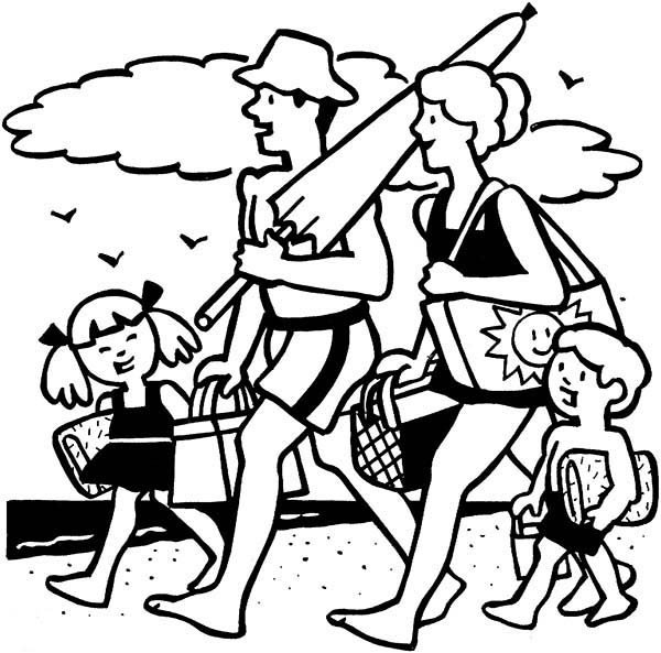 Family Picnic at Beach Coloring Pages