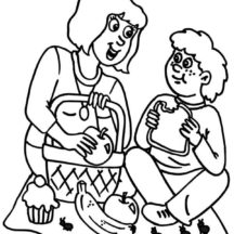 Family Picnic with Mother Coloring Pages