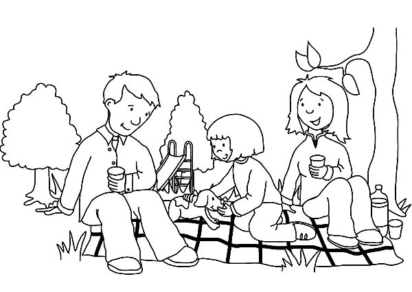 Family Picnic with My Parent Coloring Pages