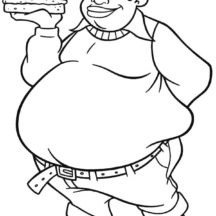 Fat Albert Boy Bring Big Burger Coloring Pages