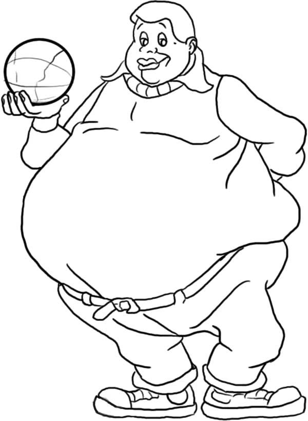 Fat Albert Boy Holding a Ball Coloring Pages