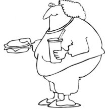 Fat Boy Eating Fast Food Coloring Pages