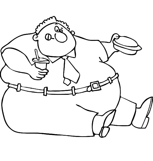 Fat Boy Eating His Lunch Box Coloring Pages