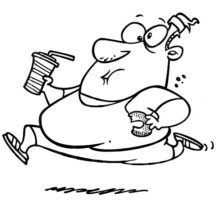 Fat Boy Running with Donut and Soft Drink Coloring Pages