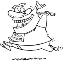 Fat Boy Running with Fork and Spoon in Hand Coloring Pages