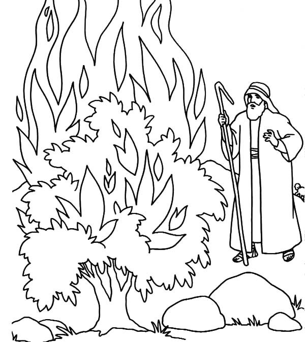 Fire Burning Bush in Fornt of Moses Coloring Pages
