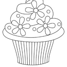 Floral Theme Cupcakes Coloring Pages