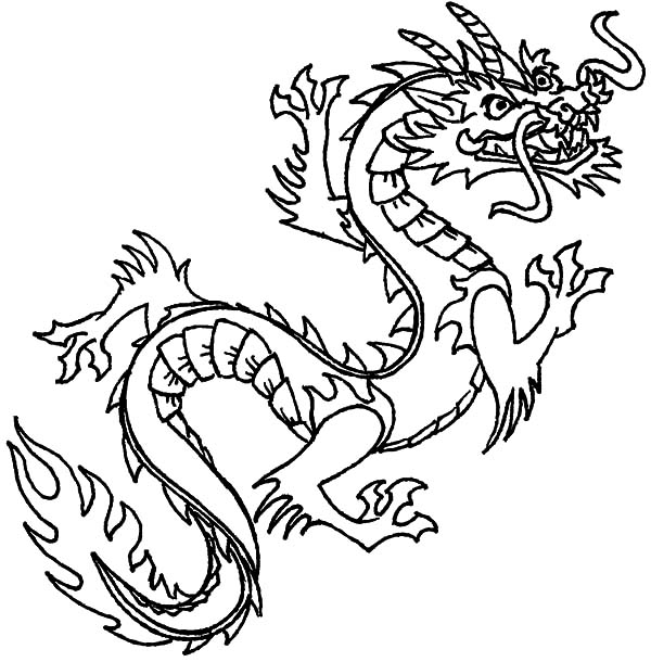 Flying Chinese Dragon Coloring Pages
