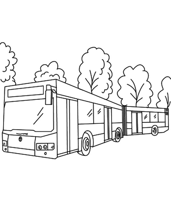 Folding Bellows City Bus Turn Around Coloring Pages