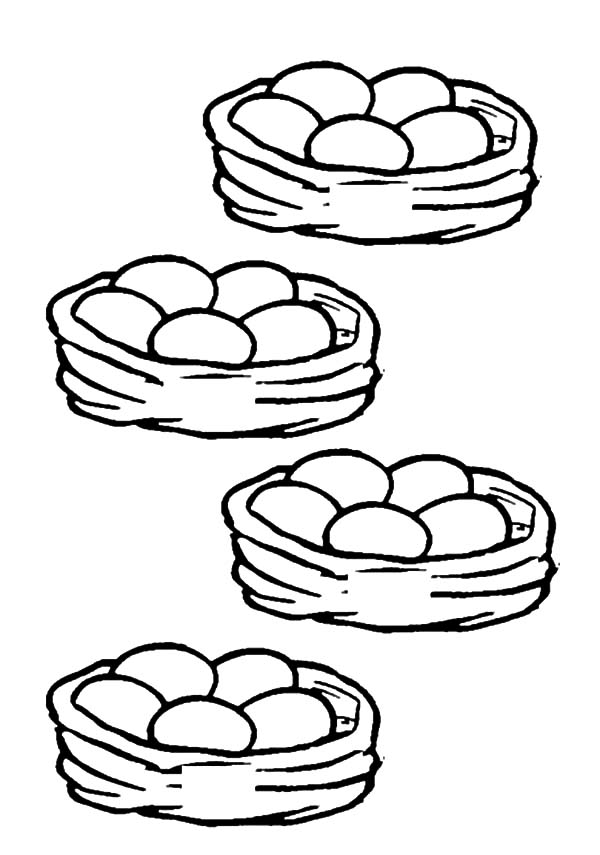 Four Basket of Chicken Egg Coloring Pages