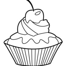 Fresh Cherry Cupcakes Coloring Pages