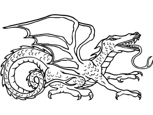 Gigantic Lizard Chinese Dragon Coloring Pages