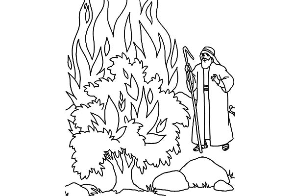 God Appears to Moses in Burning Bush Coloring Pages