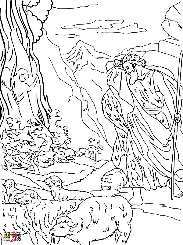 God Speaks to Moses from the Burning Bush Coloring Pages