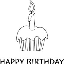 Happy Birthday Candle on Delicious Cupcake Coloring Pages