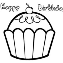 Happy Birthday Cupcakes Coloring Pages