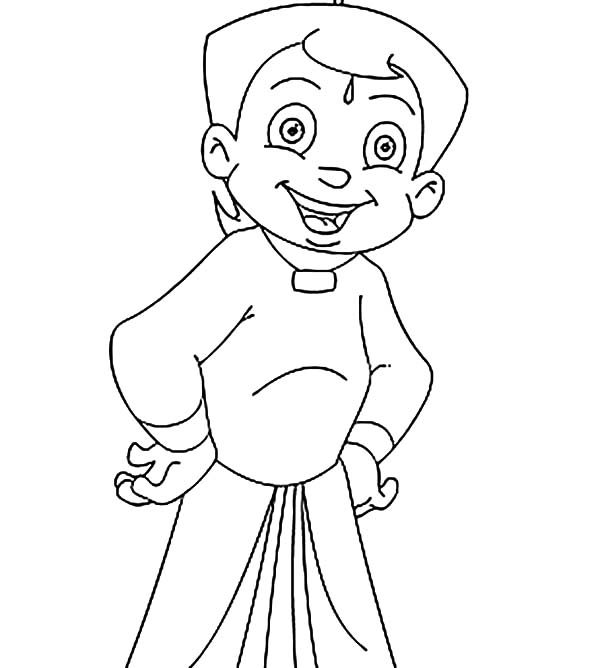 Happy Smile Chota Bheem Coloring Pages