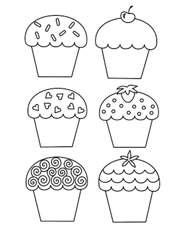 Healthy Cupcakes Coloring Pages