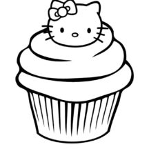 Hello Kitty Cupcakes Coloring Pages