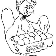 Hen Selling Chicken Egg Coloring Pages