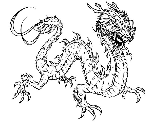 Hideous Chinese Dragon Coloring Pages