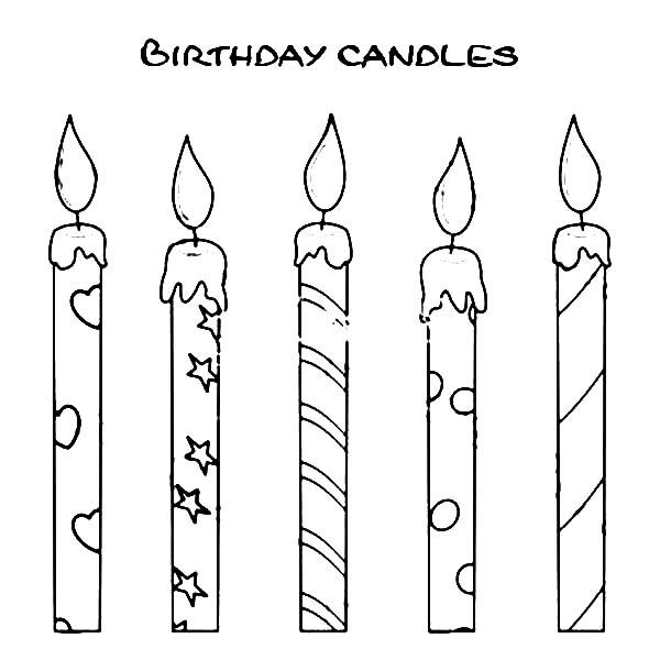 How to Draw Birthday Candle Coloring Pages