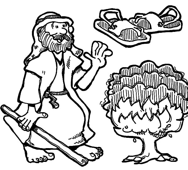 How to Draw Burning Bush Moses Coloring Pages