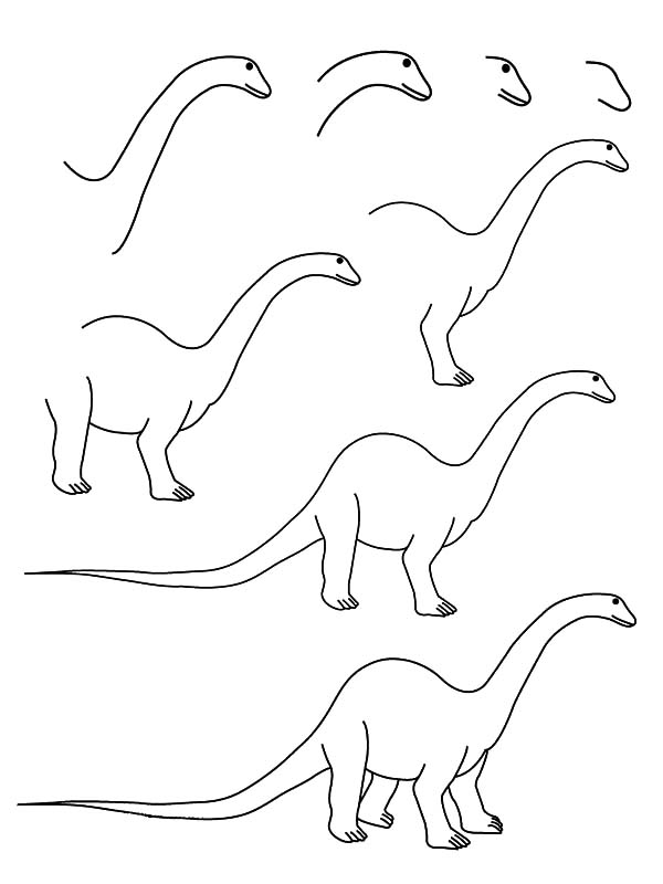 How to Draw Diplodocus Coloring Pages