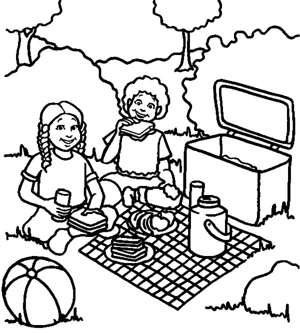 I Eat a Lot of Sandwich at Family Picnic Coloring Pages