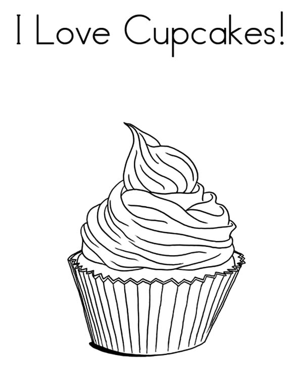 I Love Cupcakes Coloring Pages