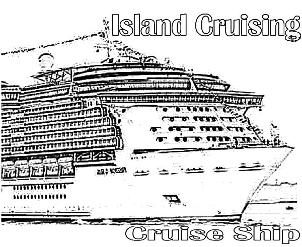 Island Cruising Cruise Ship Coloring Pages