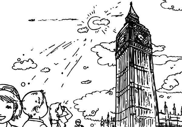 Kids Visiting London Clock Tower Coloring Pages
