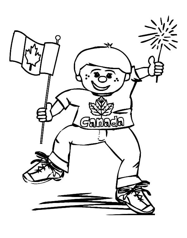 Little Boy Happy on Canada Day Coloring Pages