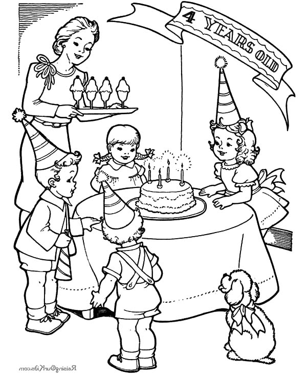 Little Girl Fourth Birthday Party Coloring Pages