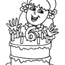 Little Girl Sixth Birthday Candle Coloring Pages
