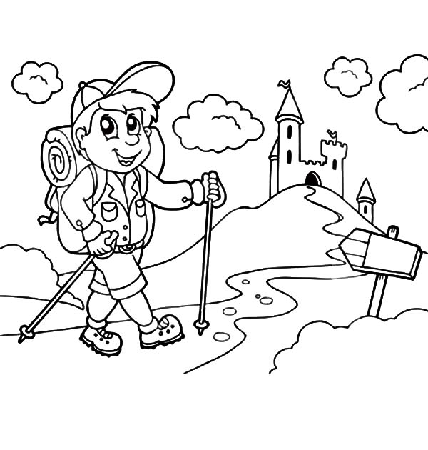 Little Kid Going Camping to Castle with Backpack Coloring Pages
