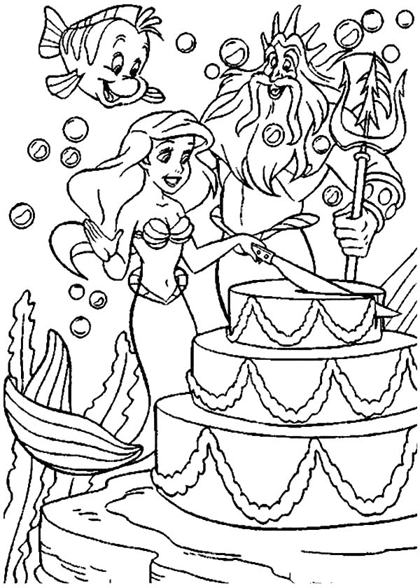 Little Mermaid Birthday Cake Coloring Pages