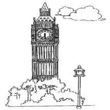 London Clock Tower Proud of England Coloring Pages