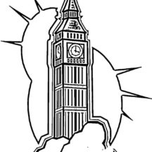 London Clock Tower Shine Coloring Pages