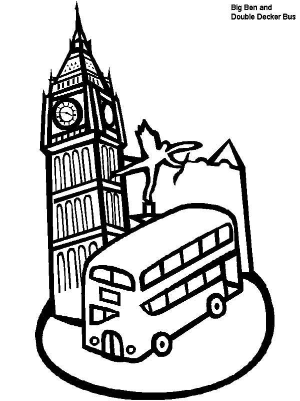 London Clock Tower and Double Decker Bus in London Coloring Pages