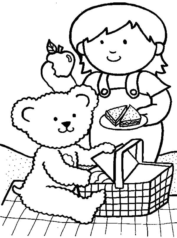 Me and My Teddy Bear at Family Picnic Coloring Pages