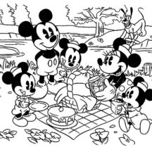 Mickey and Minnie Mouse Family Picnic Coloring Pages