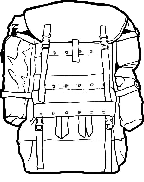 Military Camping Backpack Coloring Pages