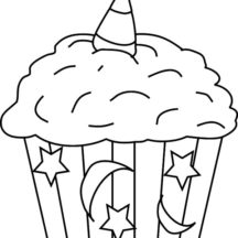 Moon and Star Theme Cupcakes Coloring Pages