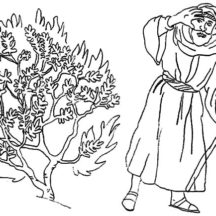 Moses Bedazzled to Burning Bush Coloring Pages