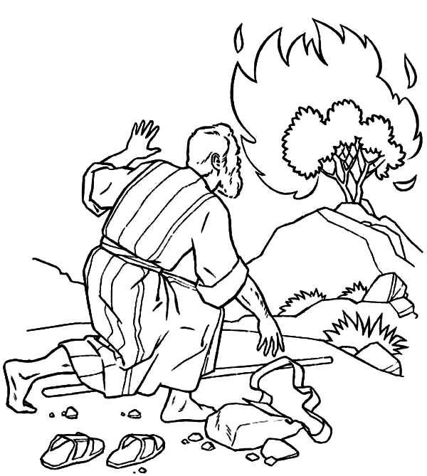 Moses Listen to God Through Burning Bush Coloring Pages